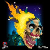 graffix flaming skull dab mat
