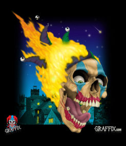 graffix flaming skull dab mat
